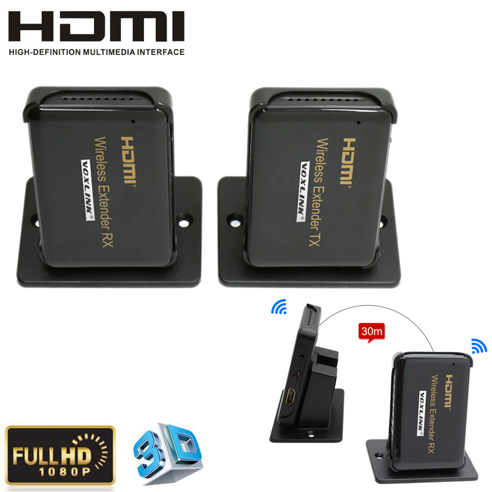 VOXLINK HDMI1.4a Wireless Extender Up to 30m/100ft Video Audio Sender / Receiver Full HD 1920x1080/60Hz, 3D,HDCP1.4 For HDTV
