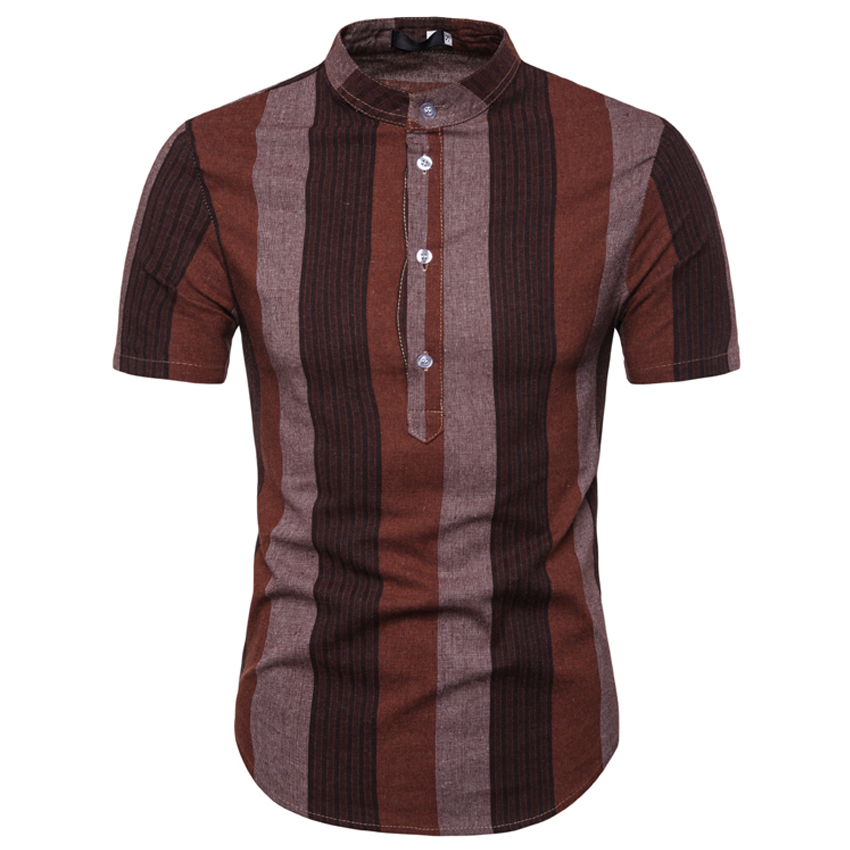 2019 New Summer Brand <font><b>Shirt</b></font> <font><b>Men</b></font> <font><b>Short</b></font> <font><b>Sleeve</b></font> Loose Thin Cotton Line <font><b>Shirt</b></font> Male Fashion <font><b>Striped</b></font> Trend O-Neck Tees image