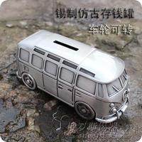 Russian Tin Piggy Bank Silver Tin Retro Metal Piggy Bus Bus