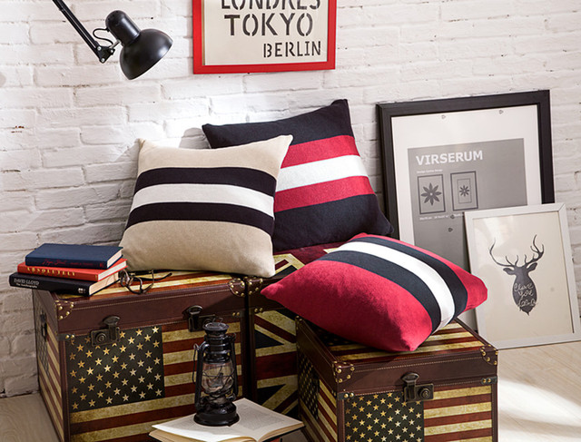 Perfect British Retro Style Black White Red Stripe Knitted Crochet 100%Cotton  Decorative Cushion Cover Sofa