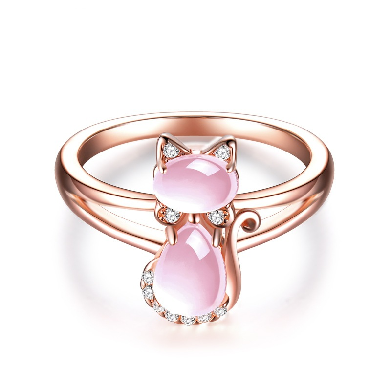 2018 Drop Shipping Rose Gold Color Cute Cat Animal CZ Ross Quartz Crystal Pink Opal Ring ...