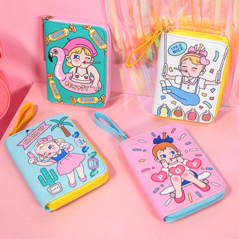 Flamingo bőr női pénztárca lányok aranyos érme pénztárcák rövid cipzáras mini tengelykapcsoló pénztárca női pénztárca hitelkártya-tulajdonos