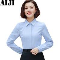 Women Shirts Long Sleeve Spring Summer White Blue Office Work Wear Blouse Plus Size Slim Elegant