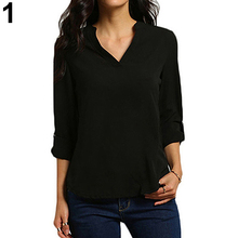 Women's Stylish Sexy V Neck Rollable Sleeve Loose Solid Chiffon Blouse Shirt New Arrival
