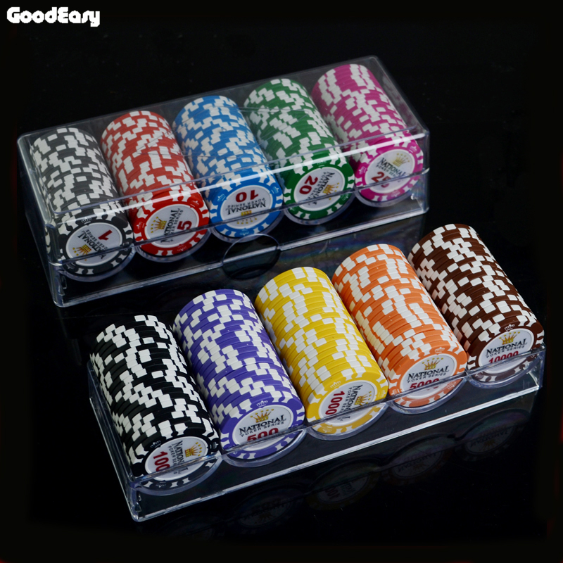100/200 PCS/SET 14g Clay Gold Crown Poker Chip Casino Chips Texas Holdem Poker Sets With Acrylic Case/Box