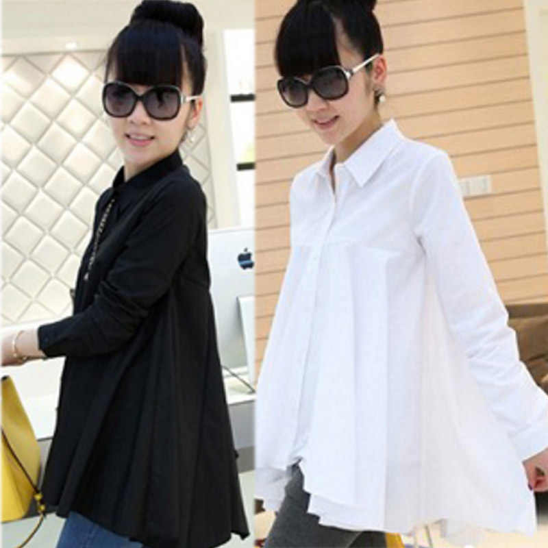 14c1c57047946 Cute Maternity Blouses Shirt Clothing Cotton Long Sleeve Turn-down Collar  Shirts Tees For Pregnant