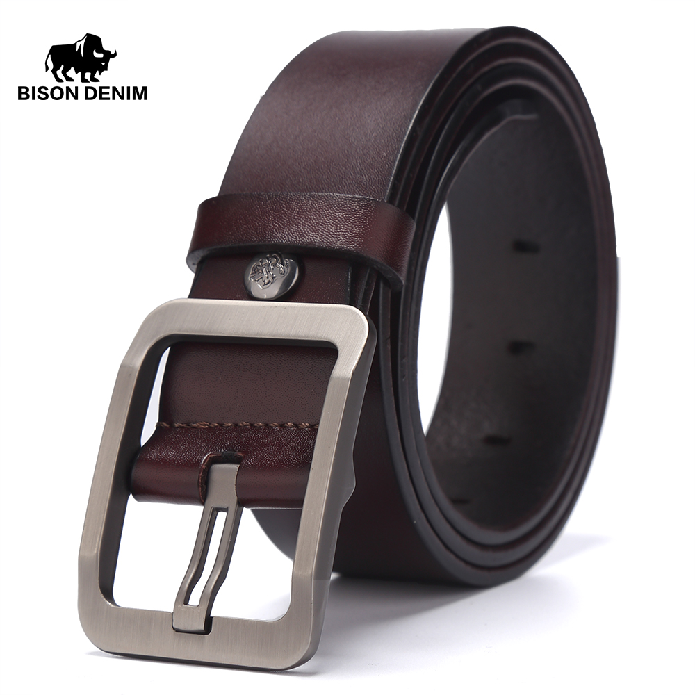 BISON DENIM Cow Genuine Leather   Belt   for Men Male Jeans   Belt   Men's High Quality Casual Pants   Belt   Vintage Pin Buckle W71152