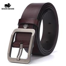 BISON DENIM Cow Genuine Leather Belt for Men Male Jeans Belt Men's High Quality Casual Pants Belt Vintage Pin Buckle W71152