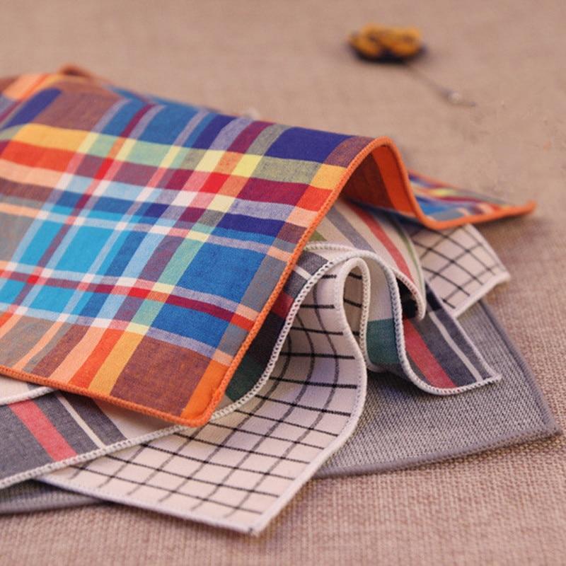 2017 Vintage Men's 100% Cotton Handkerchiefs Woven Striped/Plaid Pocket Square Wedding Party Handkerchief Towel Hanky 24cm*24cm