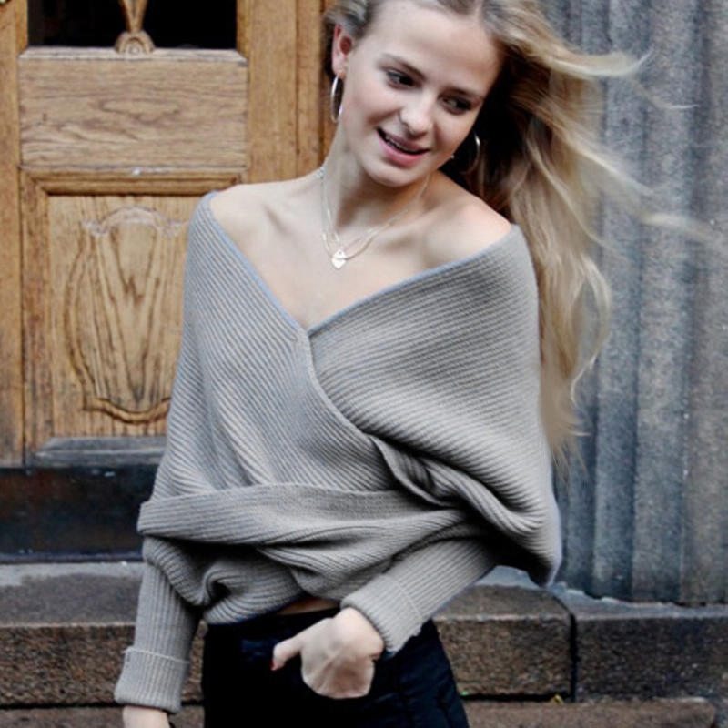 New Women V Neck Crop Tops Batwing Sleeve Chunky Knitted Cardigan Lady Long  Sleeve Off the Shoulder Knitted Sweater Shawl Scarf-in Cardigans from  Women s ... 349914f92