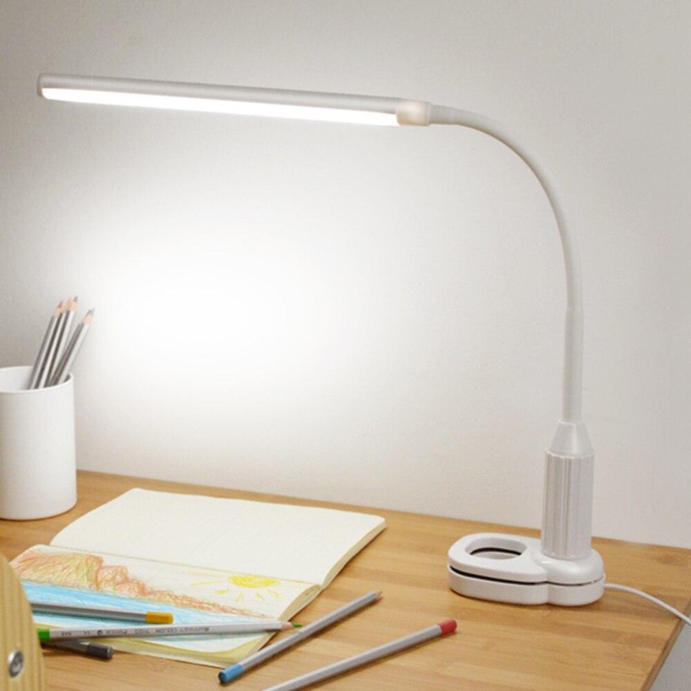 Lesen Schreibtisch Lampe 5 watt 24 LEDs Auge Schützen Clamp Clip Licht Tisch Lampe Stufenlos Dimmbar Biegsamen USB Powered Touch sensor Control