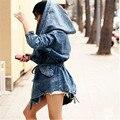2016 Moda Outono Mulheres Jaqueta Jeans de Grandes Dimensões Com Capuz Casacos Com Capuz Jean Jacket Vento Revestimento Das Mulheres de Design