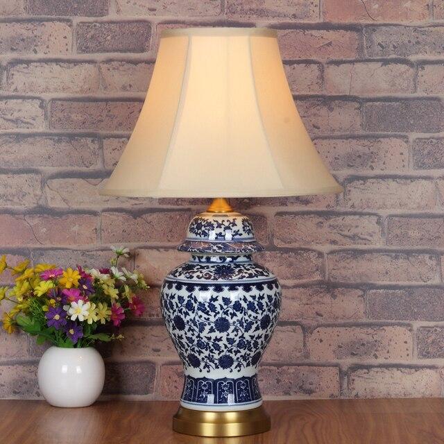 Kunst Chinesische Porzellan Keramik Tischlampe Schlafzimmer Wohnzimmer  Hochzeit Tischlampe Jingdezhen Blau Weiß Retro Tischlampe