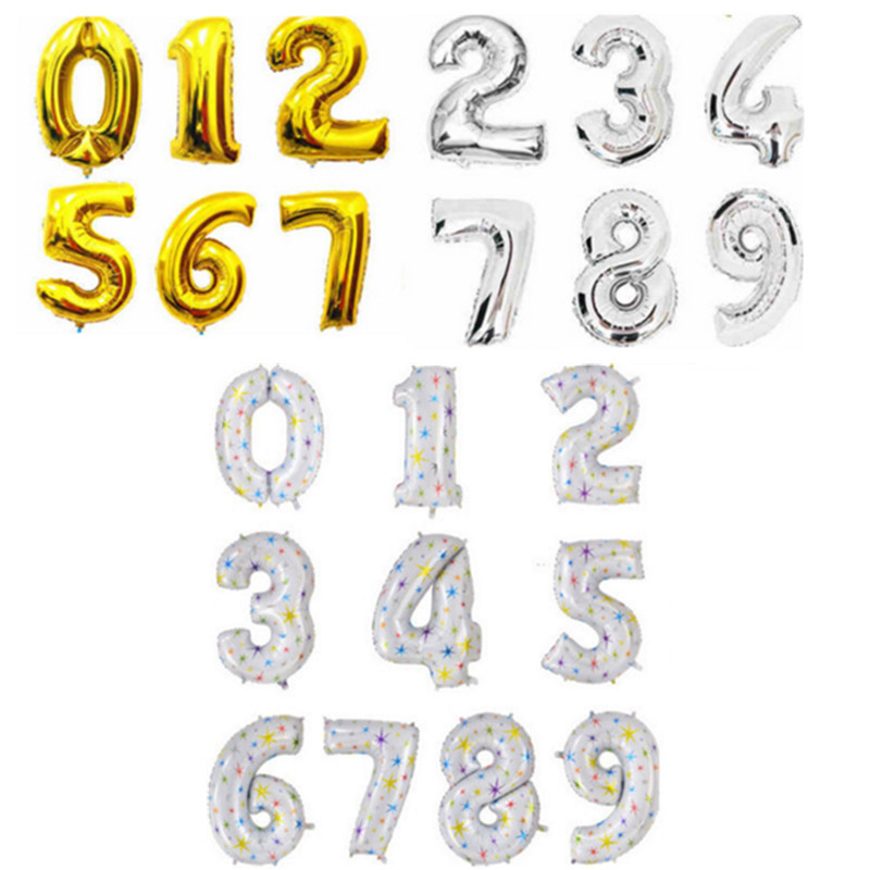 1pcs 40 inch Alphabet Helium Foil Balloon Number Balloons star printed balloons