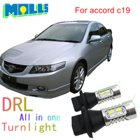 Molls 2pcs Set Led WY21W White Yellow 7440 T20 DRL Daytime Running Light Front Turn Signals