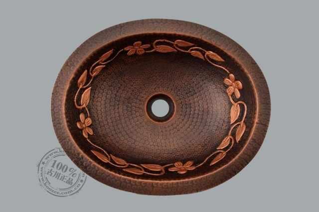 Antik avrupa antik sanat havzası oval tezgahaltı bakır bronz banyo lavabo