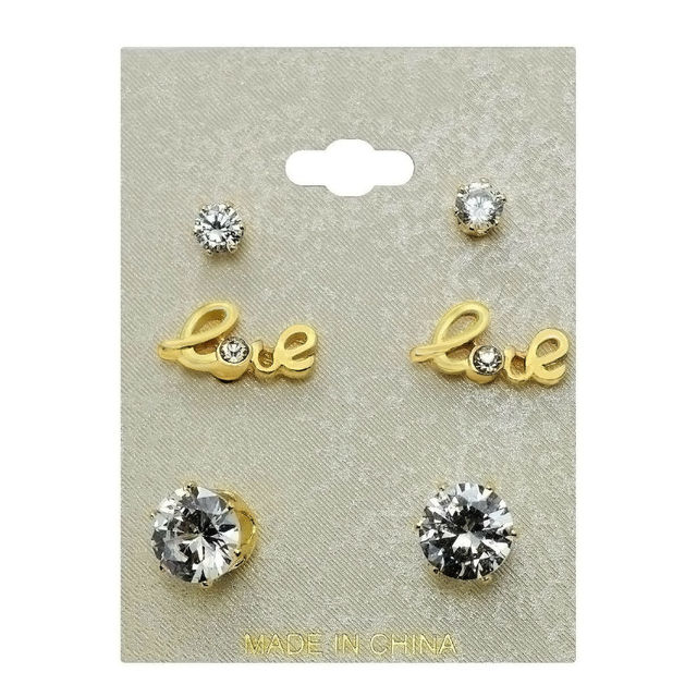 4ce243f39 LEIIY Exquisite Faceted Transparent Zircon Stud Earrings Set With Gold-color  Love Letter Stud Earrings For Women 3 Pairs/set