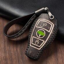 цена на Retro Genuine Leather Car Key Case Cover Bag Shell for Mercedes Benz C Class W205 C260 C200 C180 E Class W213 E200 E300 GLA 200