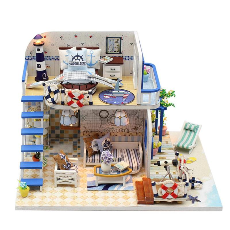 Doll Houses Humorous Handicraft Diy Dollhouse Toy Light Blue Beach Assembly Building Model House Wooden Miniature Dollhouse With Dust Cover 5 Style
