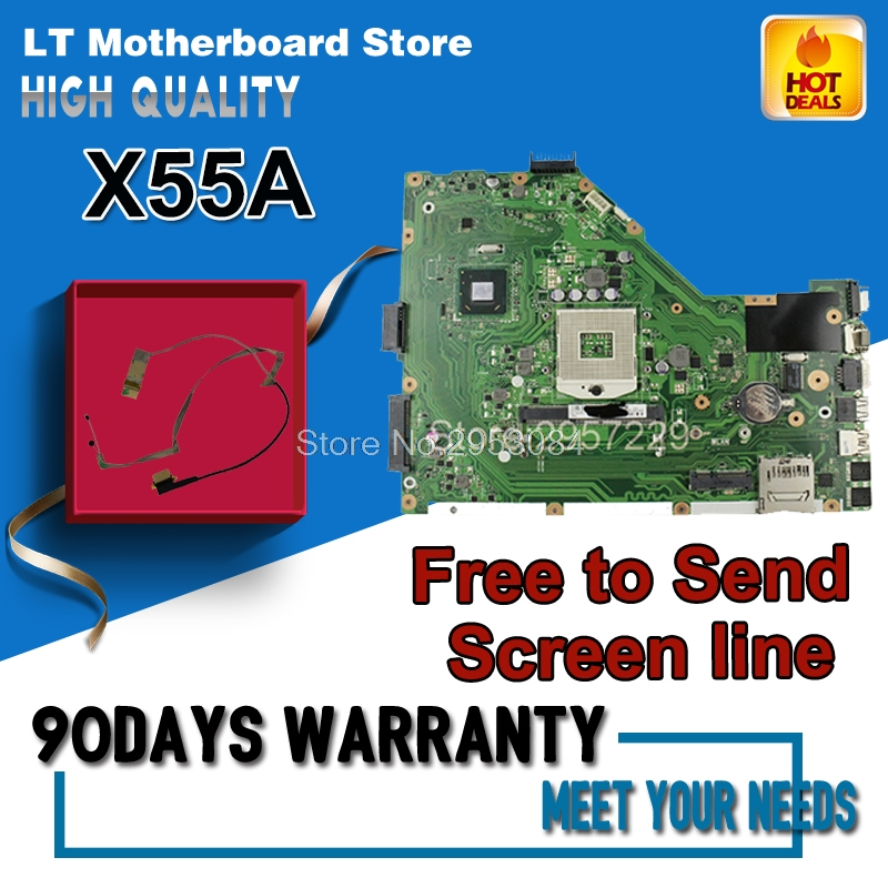 Original X55A REV.2.1 Laptop Motherboard for asus X55A series system board sjtnv pga989 ddr3 HM70 Integrated test before shiped samxinno original for asus x55a laptop motherboard rev 2 1 2 2 100% tested perfect integrated mainboard