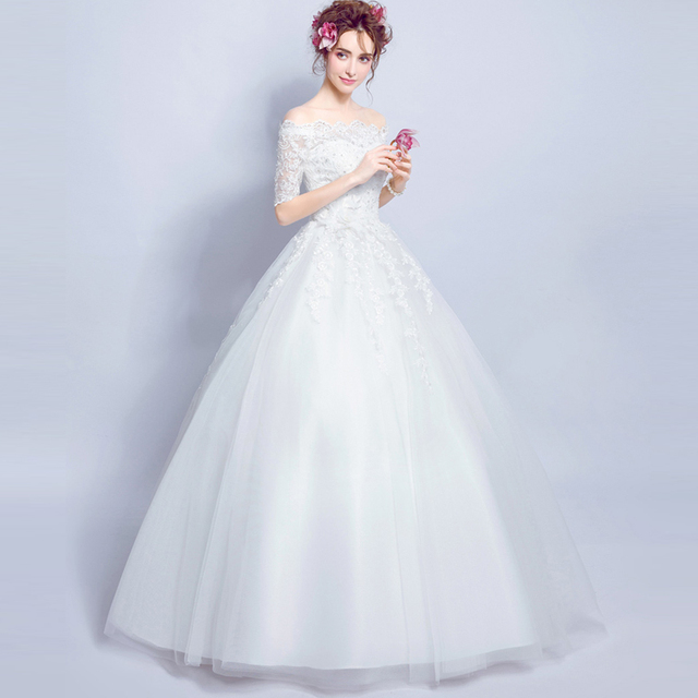 Winter Lace Tube Wedding Dresses 2016 Romantic Long Sleeve