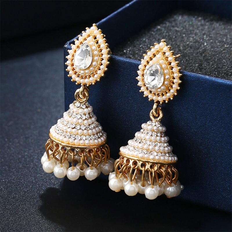 960a01fe2 2018 Fashion Faux Imitation Pearl Indian Jhumka Jhumki Drop Earrings Women  Gold Long Chain Wedding Bridal Party Jewelry Gifts-in Drop Earrings from  Jewelry ...