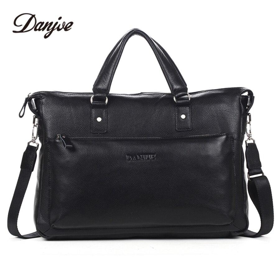 DANJUE Genuine Leather Brand Fashion Cowhide Men Briefcase Classics Black Handbag For Businessman Fashion Big Capacity Shoulder