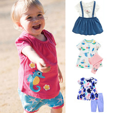 New 2018 Brand Quality 100 Cotton Baby Girls Clothing Summer 2pc Children Suit Clothes Set Short