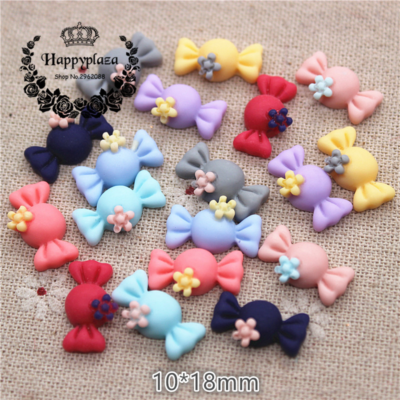 50PCS Mix Colors Cute Resin Small Candy Flat Back Cabochon DIY Jewelry/Craft Scrapbook Decoration,10*18mm