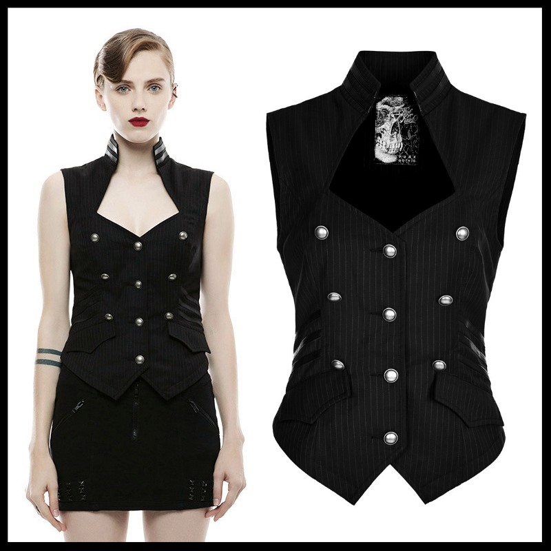 PUNK RAVE femmes Vintage militaire uniforme Blouse Steampunk gothique rayé tissé sans manches gilet fête formelle hauts chemise