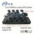 1 в 8 HDMI для одного разветвителя CAT6 Extender 50 м 1080 P 3d 1x8 hdmi передатчик конвертер 7 получают 1 hdmi выход