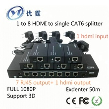 1 to 8 HDMI to single CAT6 splitter Extender 50m 1080p 3d 1×8 hdmi transmitter converter 7 receive 1hdmi output