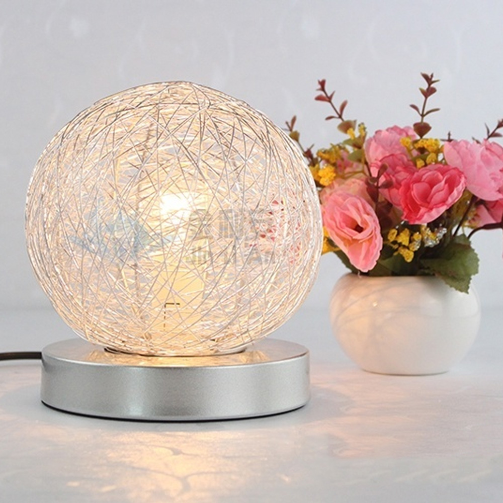 hight resolution of simple adjustable light romantic fashion decorative lamp round aluminium wire warm bedroom bedside lamp night light table lamps