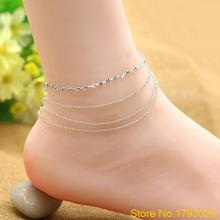 Women's 4 Layers Crystal Beads Sandal Beach Anklet Chic Foot Chain Jewelry 4TFE