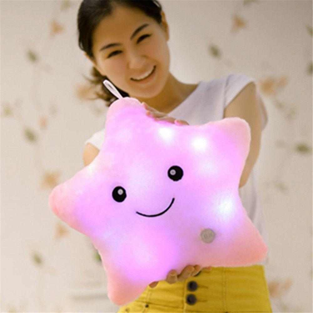 Lovely Star Luminous Pillow LED Light Up Glow Pillow Soft Cosy Relax Cushion Stars Xmas Gift Plush Kids Children Creative Toy
