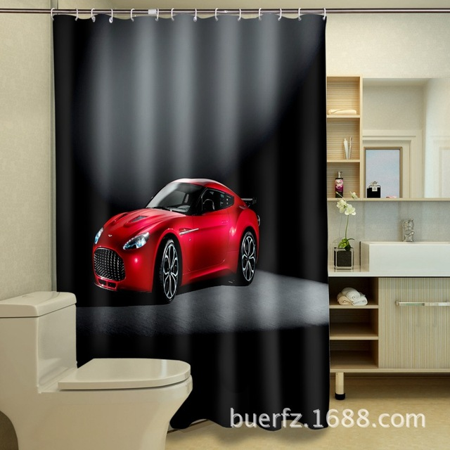 3D Printing Red Car Waterproof Shower Curtain Black Curtains Cool For Bathroom
