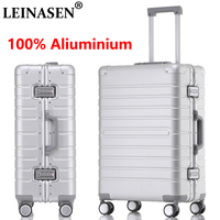 LEINASEN sale 202428 inch 100% aluminium rolling luggage business travel suitcase aluminum spinner trolley bag on wheel
