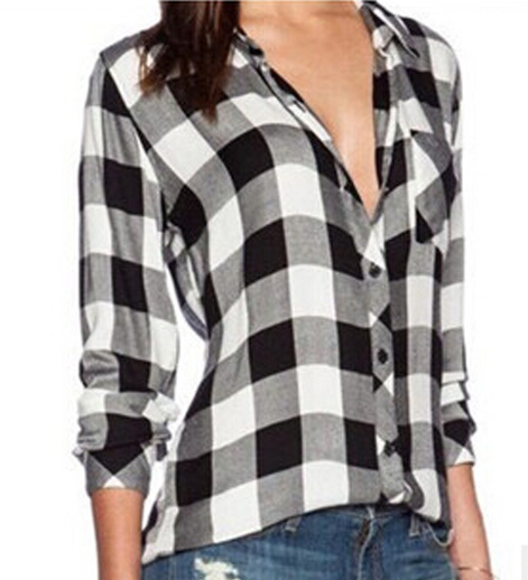 Shirt Women Blouse 2017 Tops Blusas Female Plaid Shirts Loose ...