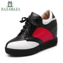 Купить с кэшбэком RAZAMAZA Women Pumps Mixed Color Fashion Lace Up Casual Heighten Increasing Shoes Women Party Round Toe Footwear Size 34-41