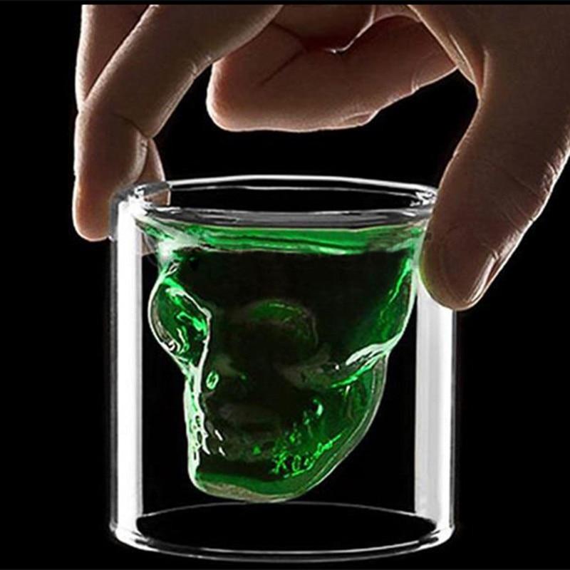 Novelty Cups 25ml-250ml Double Wall Skull Skeleton Whisky Bar wine glasses Glass Cup Crystal Skull Head Vodka Shot Wine Glass 1