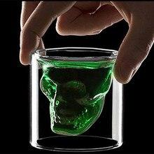 Новинка чашки 25 мл-250 мл двойные стенки Череп Скелет Виски Бар бокал для вина es стеклянная чашка кристалл череп голова водка рюмка