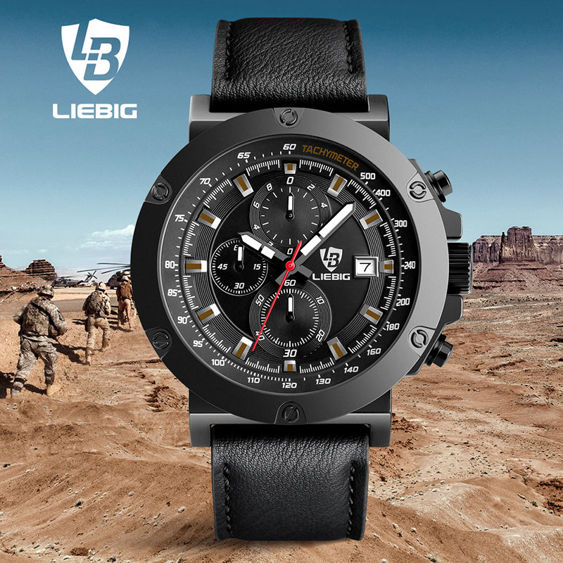 LIEBIG Fashion Sports Watches Men Military Calendar Leather Strap Commander Quartz Wristwatches Waterproof Relogio Masculino men quartz watches military fashion men business casual quartz wristwatches 50m waterproof watch relogio masculino liebig 1018
