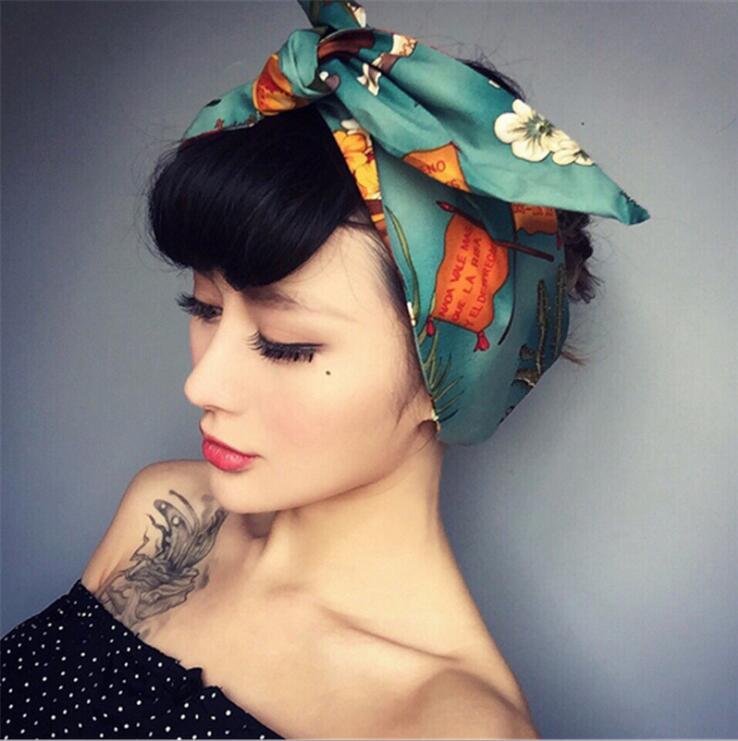 Fashion Rabbit Ears Iron Wire Hair Hoop Scrunchie Women Girls Bow Headband Hair Head Bands Accessories For Women Turban Hairband