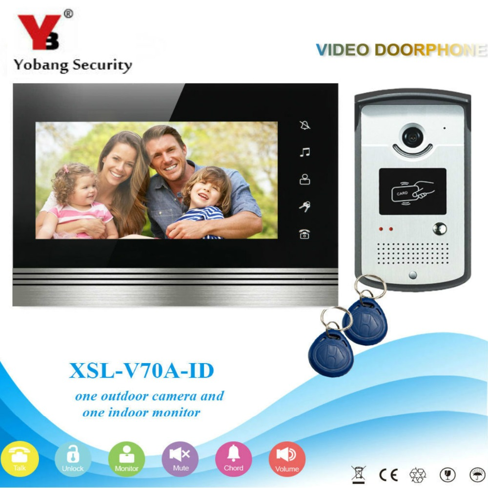 YobangSecurity 7Inch LCD Color Screen Video Door Bell Phone Intercom RFID Card Access Control Home Entry Security Kit System 7 inch password id card video door phone home access control system wired video intercome door bell