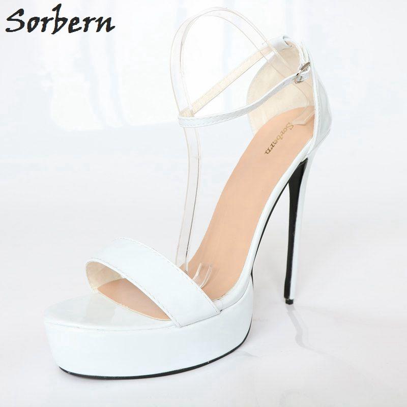 Donne Alto Estremo Bianco Spillo Sandalias 2018 Sorbern Alla Tacchi Mujer  Custom bianco Caviglia Color Sottili ... d6a01908d38