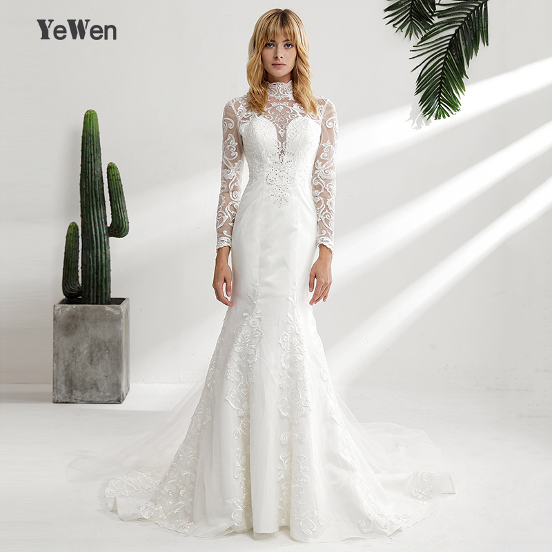 a1902bd5b10c6 US $240.55 15% OFF|YeWen Vintage High Neck Lace Wedding Dresses 2018 Long  sleeves ivory mermaid wedding Gown outdoor vestidos de novia-in Wedding ...