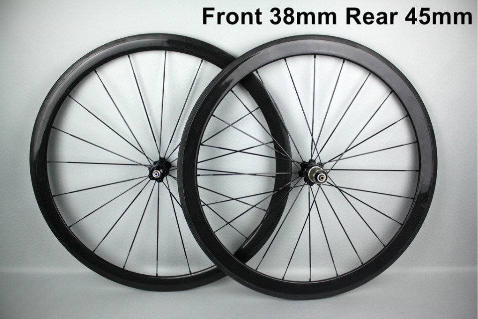 Lowest price carbon wheels front 38mm rear 45mm tubular 21mm width ruedas carbono carretera carbon road wheels