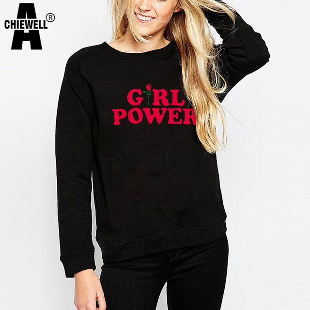 615f139f9a0c Achiewell Autumn Pulloover Hoodies for Women Girl Power Rose Printed  Hoodies Sweatershirt Casual Long Sleeve Female Tops
