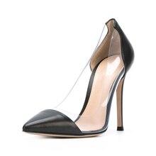 цена 2019 New Super High Heels Women Pointed Toe Heels Shoes Thin Heel PVC Pumps 10cm Party Wedding Genuine Leather Pumps C047A онлайн в 2017 году