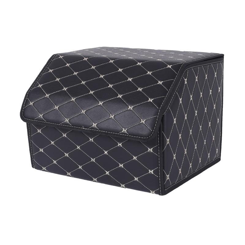 Car storage box trunk organizer case bag PU leather folding large cargo car garbage tool 40 cm long